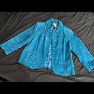 Chicos (S/4) Blue Suede Jacket Size 0
